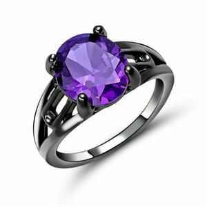 Gorgeous Purple Amethyst Black Gold Filled Ring 6